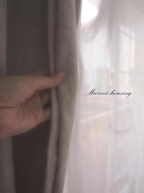 麻&綿のカーテン。